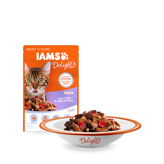 IAMS Delights macskaeledel báránnyal és piros paprikával, szószban 85 g